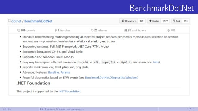 BenchmarkDotNet 17/81 1.2 Теория: Общая методология