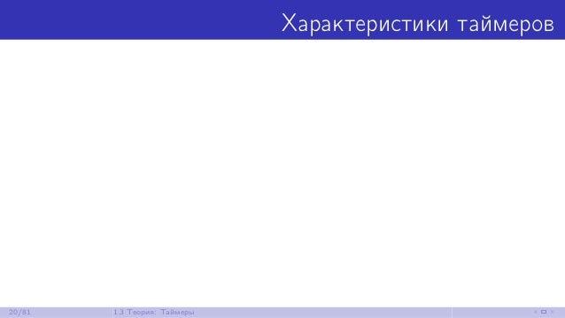 Характеристики таймеров 20/81 1.3 Теория: Таймеры