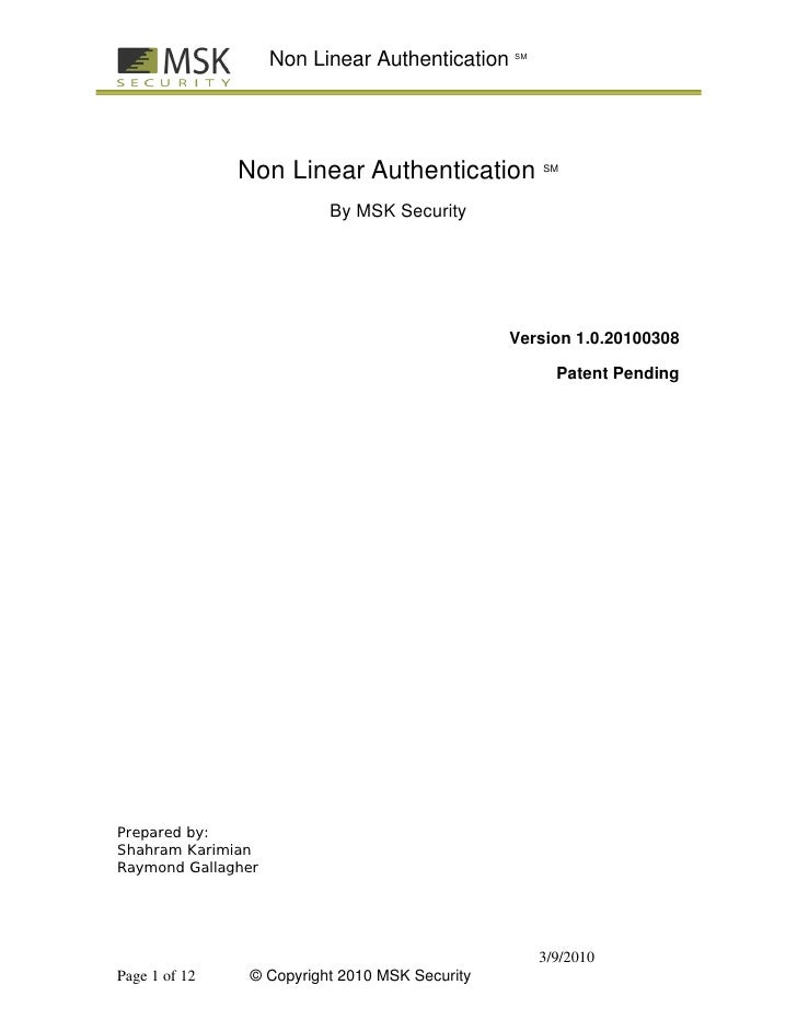 Non Linear Authentication SM                    Non Linear Authentication           SM                              By MSK...