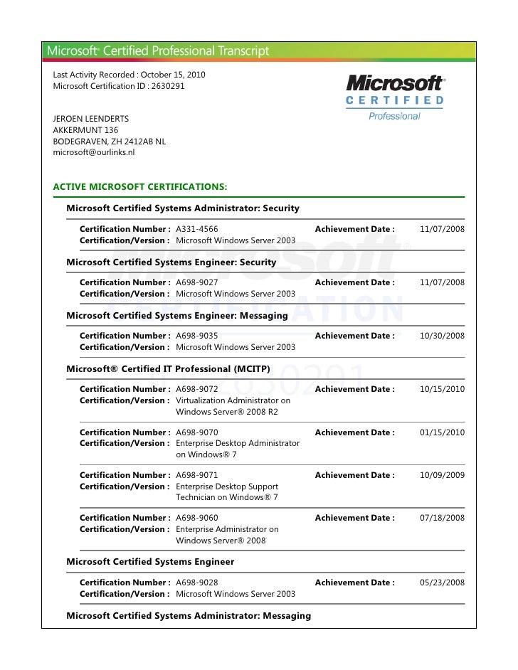 Last Activity Recorded : October 15, 2010Microsoft Certification ID : 2630291JEROEN LEENDERTSAKKERMUNT 136BODEGRAVEN, ZH 2...