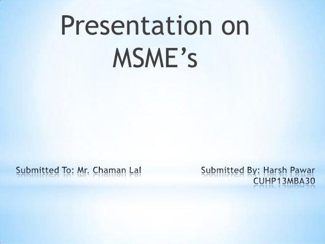 Presentation on MSME's