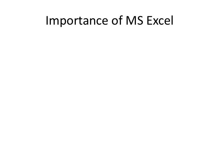 importance of ms excel