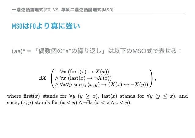 有限モデル理論入門:MSOとオートマトン