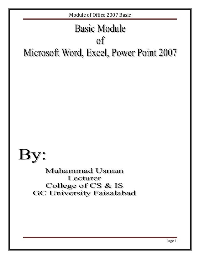 Module of Office 2007 Basic                              Page 1