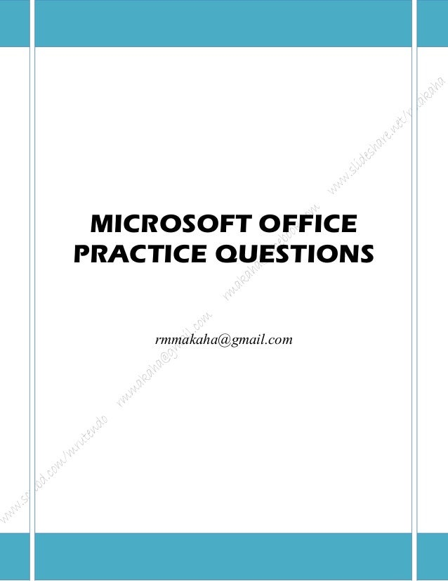 Microsoft Office Package: Practical Questions