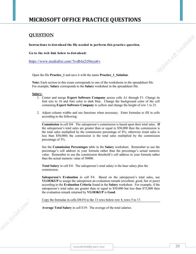 Microsoft office package practical questions fandeluxe Image collections