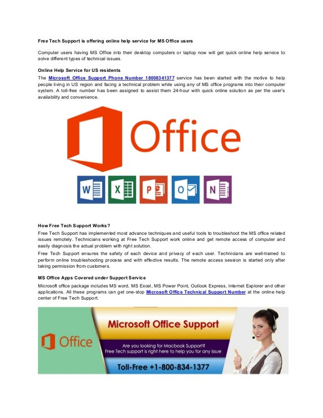 Free Tech Support is offering online help service for MS Office users Computer users having MS Office into their desktop c...