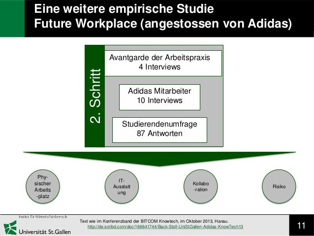 11 Eine weitere empirische Studie Future Workplace (angestossen von Adidas) Avantgarde der Arbeitspraxis 4 Interviews Adid...