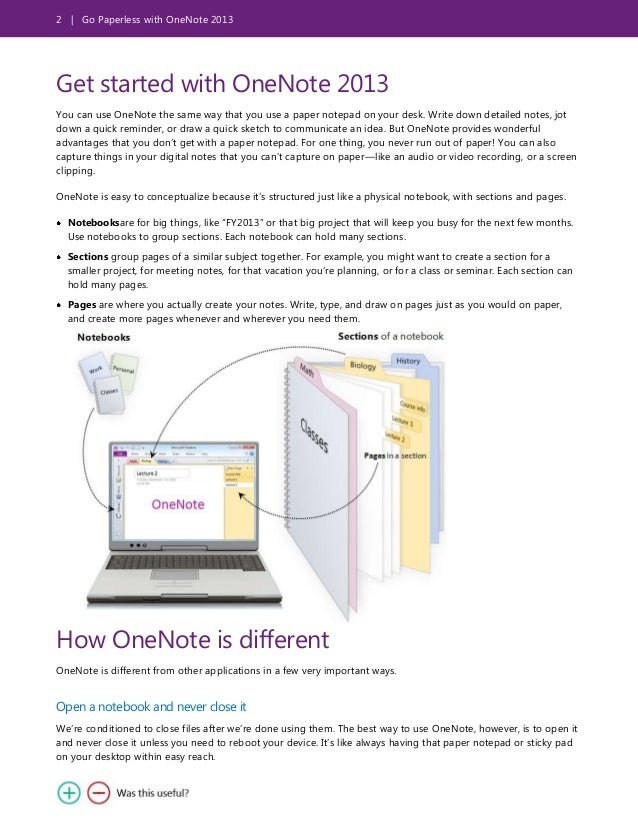 2 | Go Paperless with OneNote 2013 Get started with OneNote 2013 You can use OneNote the same way that you use a paper not...