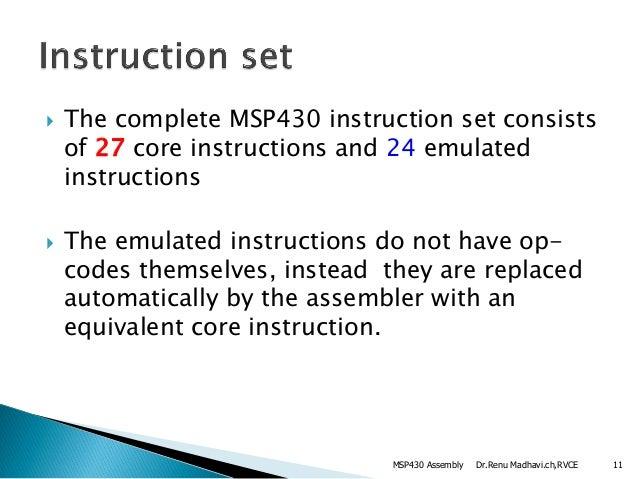 Msp430 Assembly Language Instructions Ampaddressing Modes