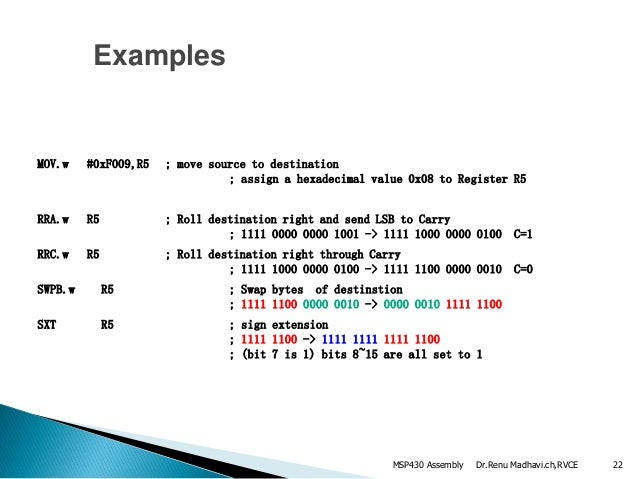 Assembly language examples