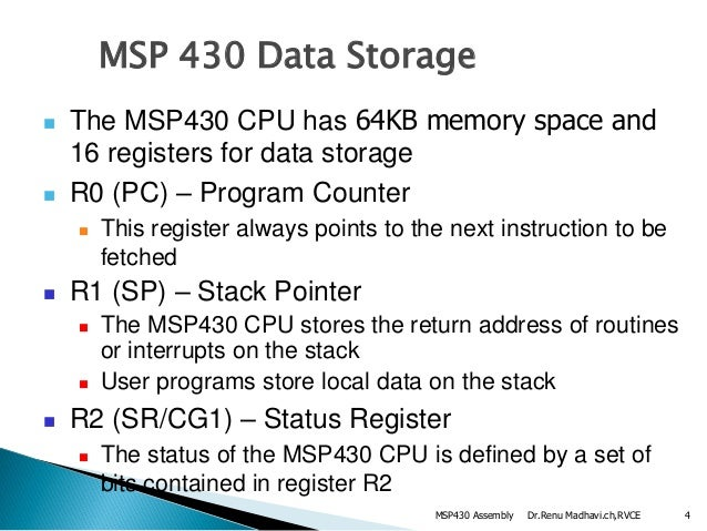 Msp430 assembly language instructions &