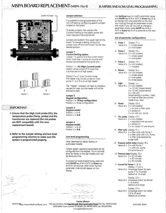Mspa board replacement instruction