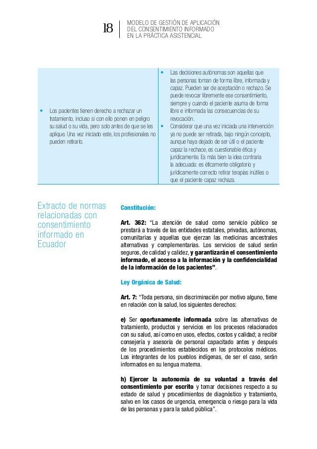 Modelo de gestión de aplicación del consentimiento informado en la práctica asistencial 24 Riesgo mínimo Riesgo mayor • S...