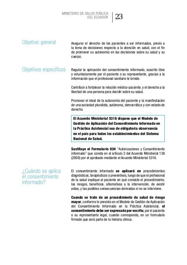ACUERDO MINISTERIAL 5316, REGISTRO OFICIAL 510, MODELO DE GESTIÓN DE APLICACIÓN DEL CONSENTIMIENTO INFORMADO EN LA PRÁCTIC...