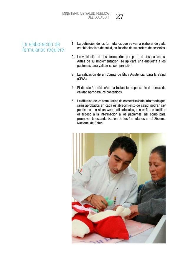 35 Ministerio de Salud Pública del Ecuador Modelo de gestión de aplicación del consentimiento informado en la práctica asi...