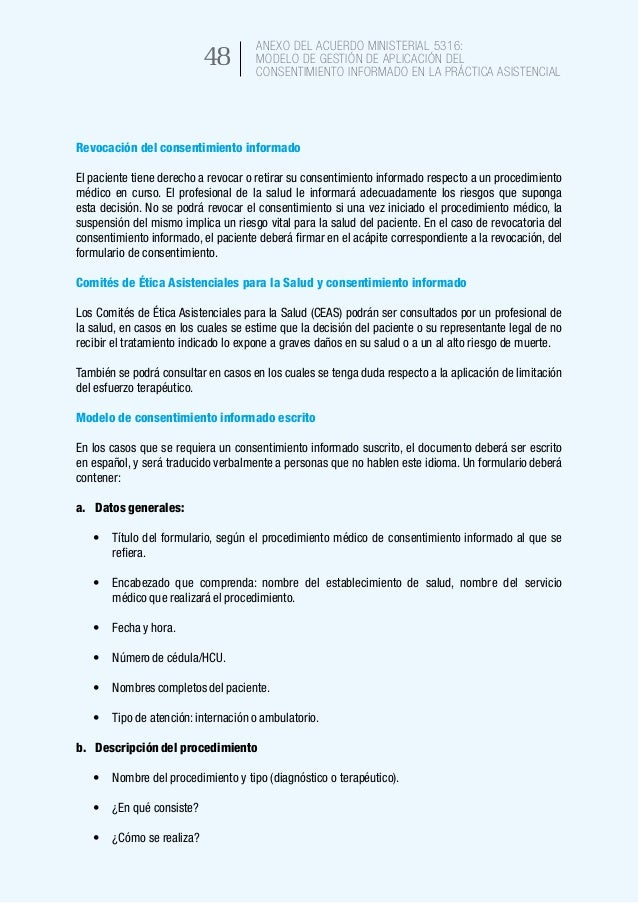 ANEXO DEL ACUERDO MINISTERIAL 5316: Modelo de gestión de aplicación del consentimiento informado en la práctica asistencia...