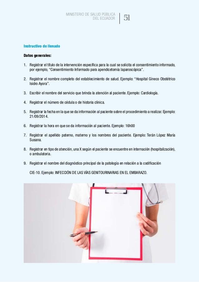 59 Ministerio de Salud Pública del Ecuador NOMBRE DEL PROCESO: Suscripción de consentimiento informado en atención sanitar...