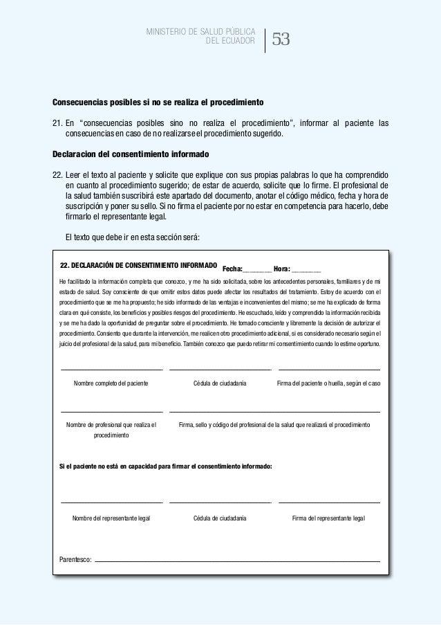 """61 Ministerio de Salud Pública del Ecuador 1.Título: """"Consentimiento Informado para ______________"""" 2. Nombre del establec..."""