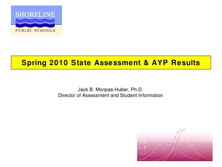 Spring 2010 State Assessment & AYP Results Jack B. Monpas-Huber, Ph.D. Director of Assessment and Student Information