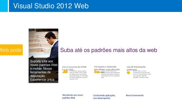 Visual Studio 2012 Web             Suba até os padrões mais altos da web