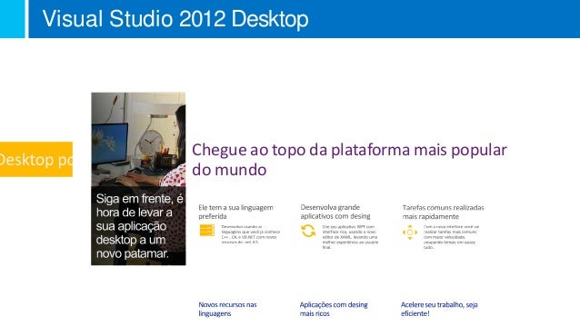 Visual Studio 2012 Desktop              Chegue ao topo da plataforma mais popular              do mundo