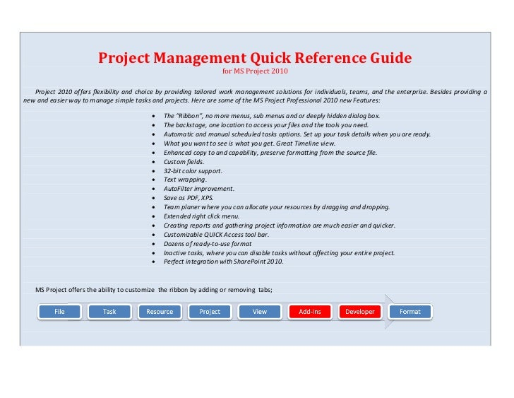 Project Management Quick Reference Guide                                                                   for MS Project ...
