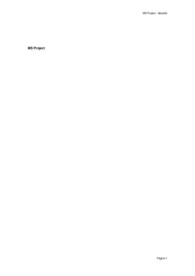 MS Project - Apostila Página 1 MS Project
