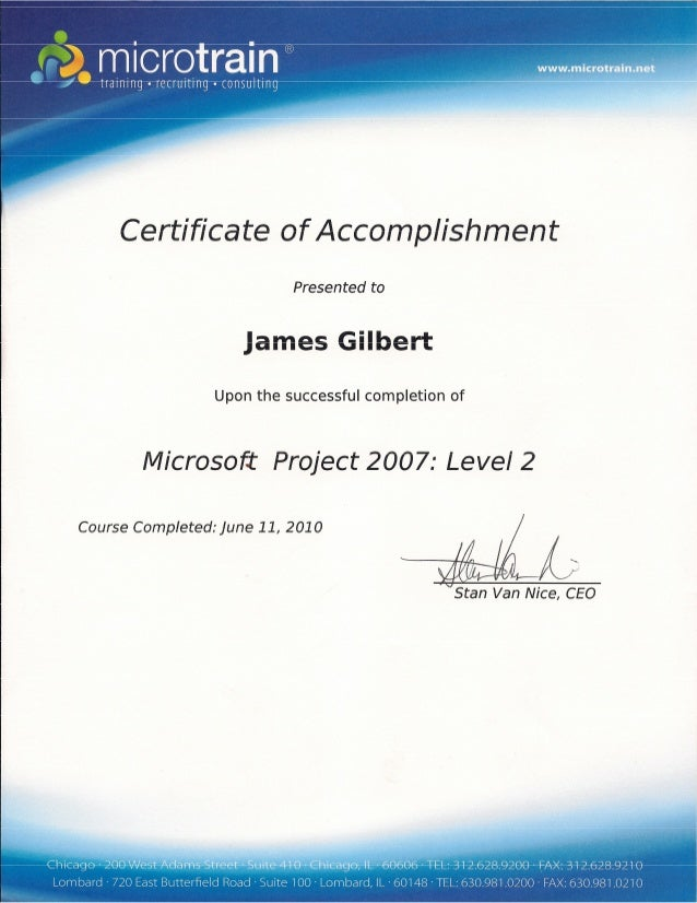 Ms Project Ii Training Certificate