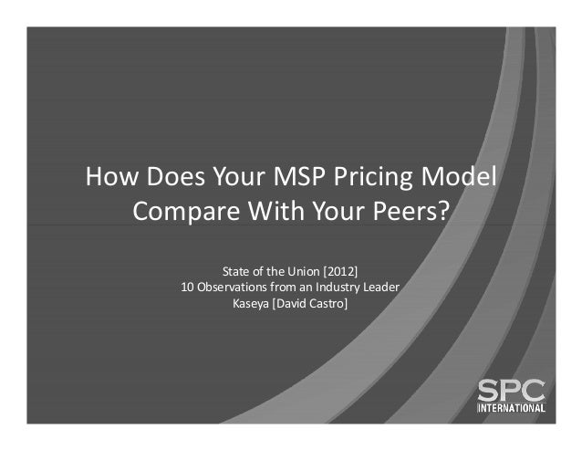 How Does Your MSP Pricing Model   Compare With Your Peers?              State of the Union [2012]       10 Observations fr...