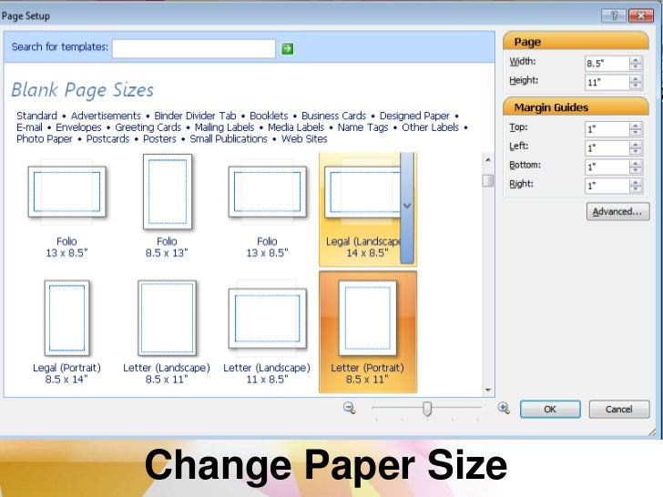Change page size, paper size, or page orientation