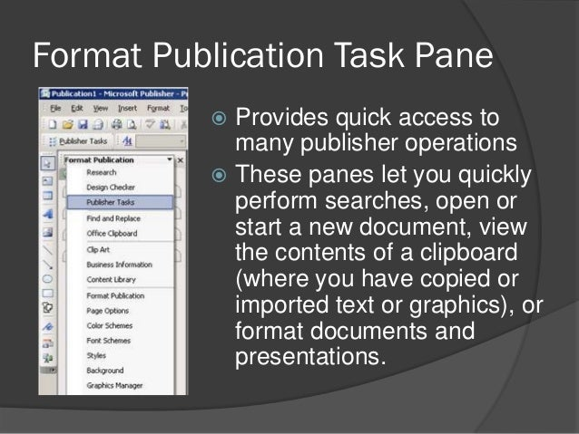 Ms publisher parts and functions