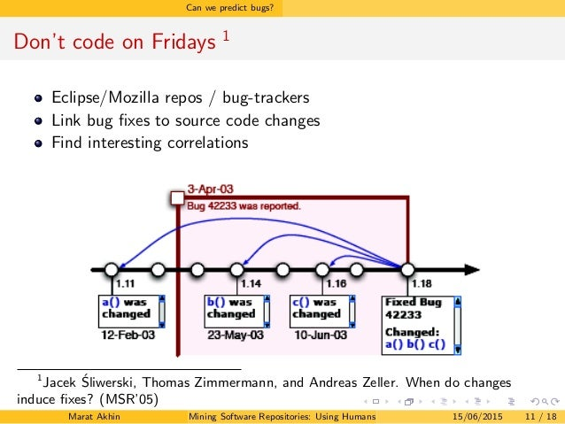 Can we predict bugs? Don't code on Fridays 1 Eclipse/Mozilla repos / bug-trackers Link bug fixes to source code changes Fin...