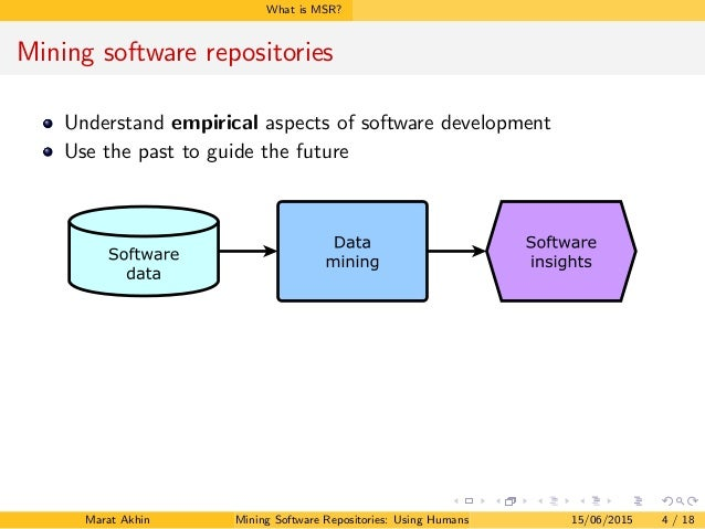 What is MSR? Mining software repositories Understand empirical aspects of software development Use the past to guide the f...