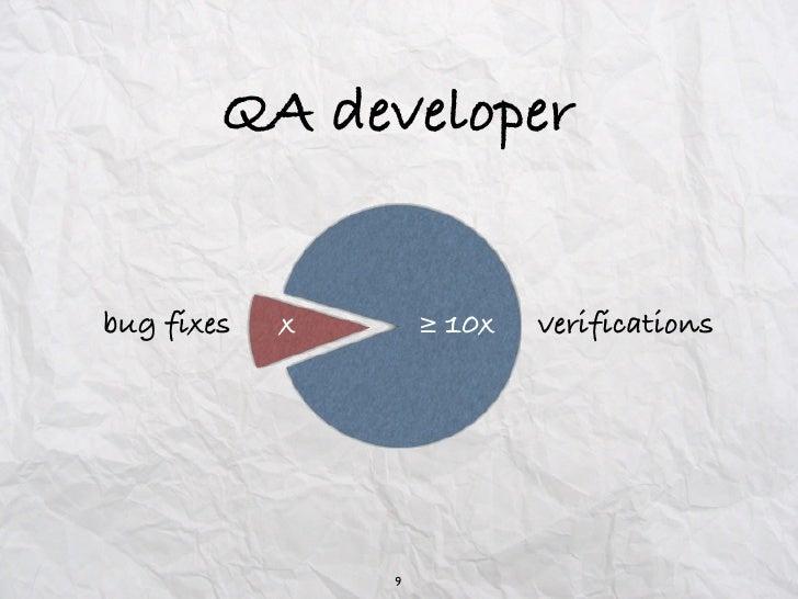 QA developerbug fixes   x       ≥ 10x   verifications                9