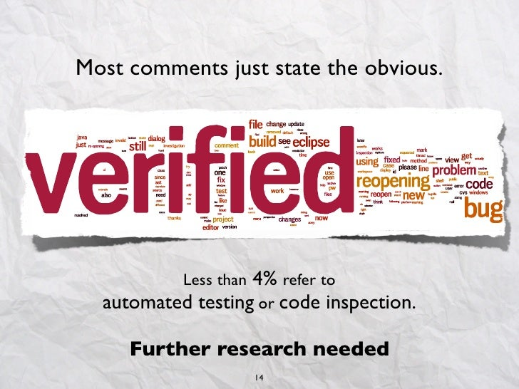 Most comments just state the obvious.                   4% refer to           Less than  automated testing or code inspect...