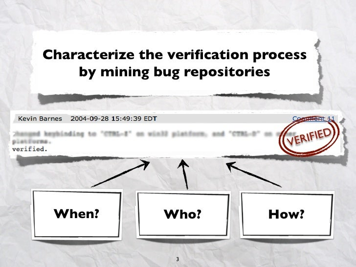 Characterize the verification process    by mining bug repositories                                 VER IFIED When?        ...