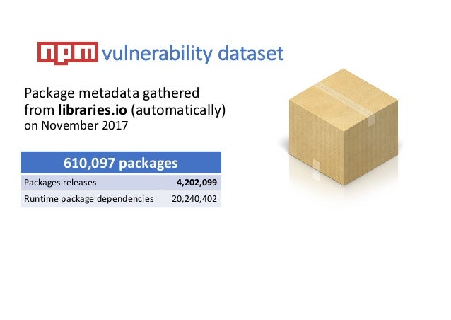vulnerability dataset Package metadata gathered from libraries.io (automatically) on November 2017 610,097 packages Packag...