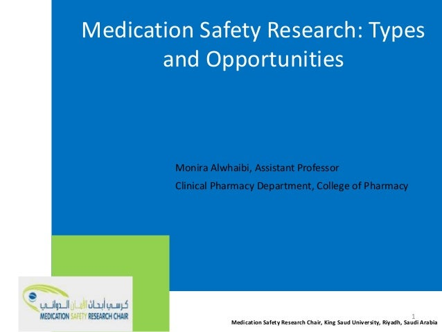 Medication Safety Research: Types and Opportunities Monira Alwhaibi, Assistant Professor Clinical Pharmacy Department, Col...