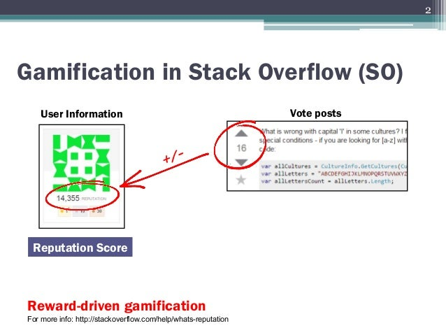 Gamification in Stack Overflow (SO) User Information Reputation Score Vote posts Reward-driven gamification For more info:...