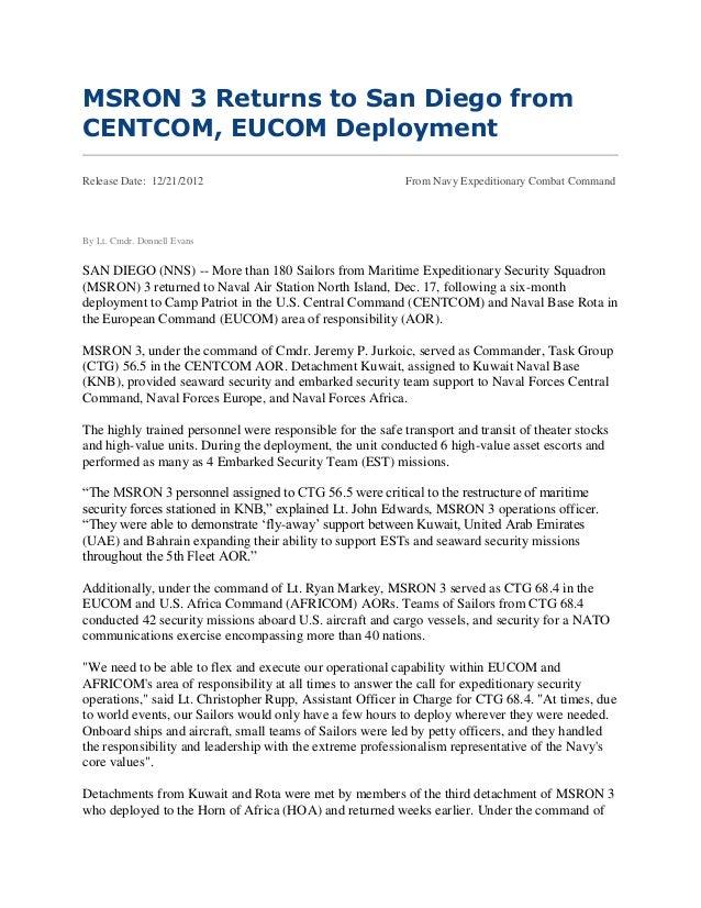 MSRON 3 Returns to San Diego fromCENTCOM, EUCOM DeploymentRelease Date: 12/21/2012                                    From...