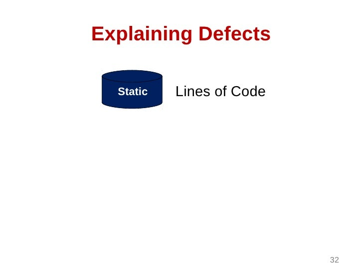 Explaining Defects  Static   Lines of Code                           32