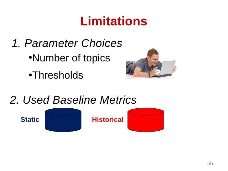 Limitations1. Parameter Choices    •Number of topics    •Thresholds2. Used Baseline Metrics  Static          Historical   ...