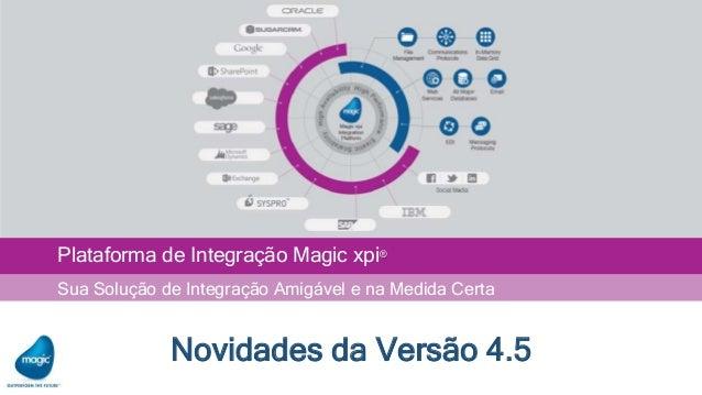 Plataforma de Integração Magic xpi® Sua Solução de Integração Amigável e na Medida Certa Novidades da Versão 4.5