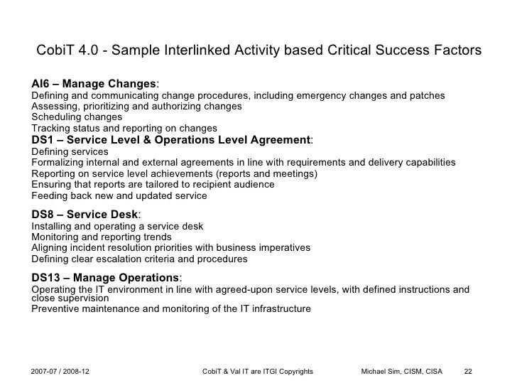 Cobit, Val It & Balanced Scorecards