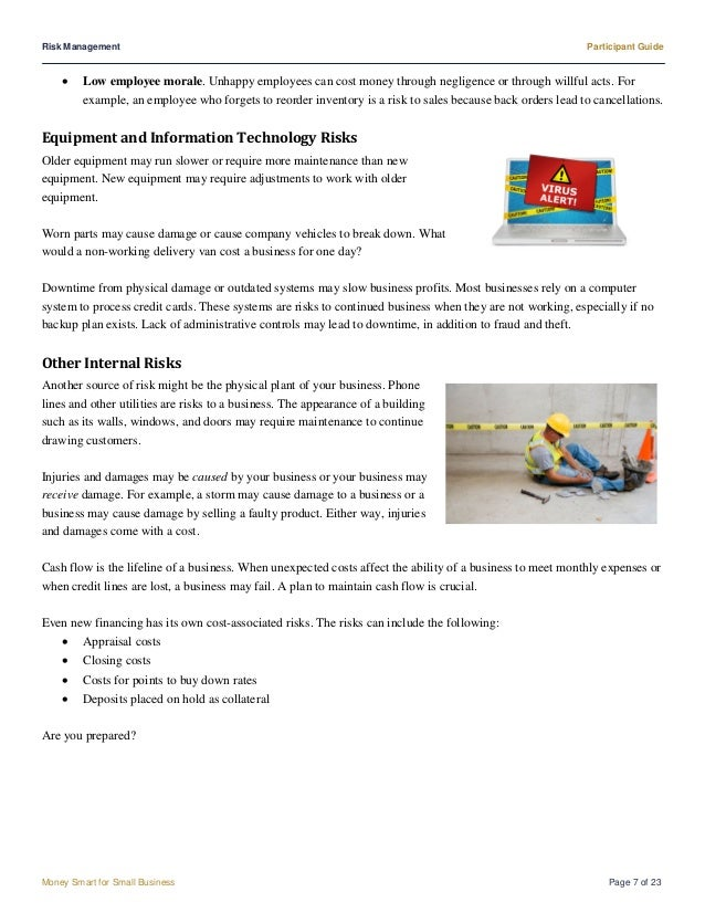 Participant guide risk management risk management participant guide money smart for small business flashek Choice Image
