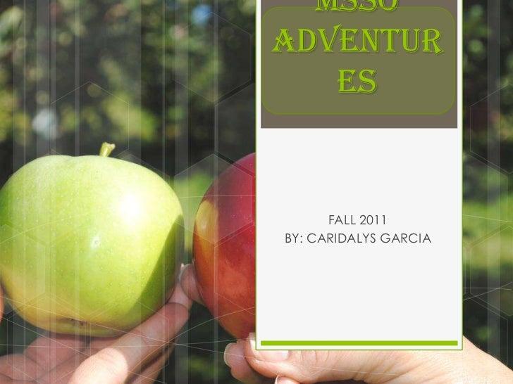 MSSOADVENTUR   ES      FALL 2011BY: CARIDALYS GARCIA
