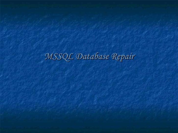 MSSQL Database Repair