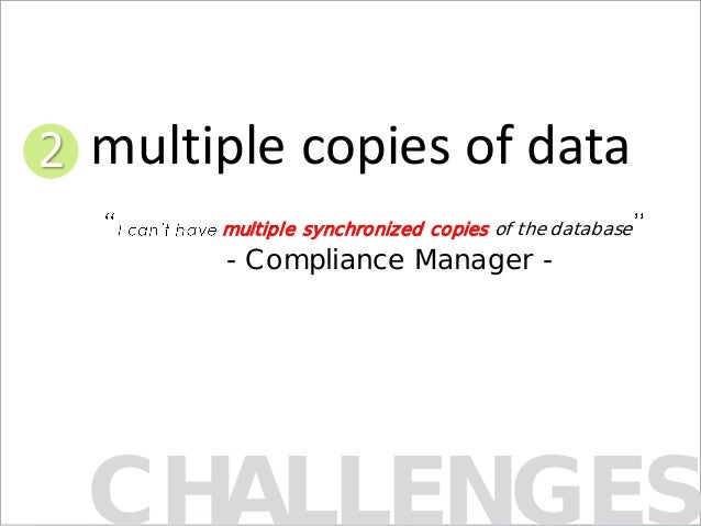 CHALLENGES multiple synchronized copies of the database - Compliance Manager - 2 multiple copies of data