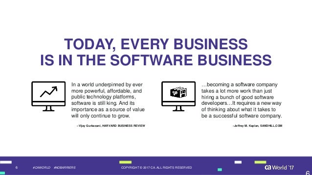 6 COPYRIGHT © 2017 CA. ALL RIGHTS RESERVED#CAWORLD #NOBARRIERS TODAY, EVERY BUSINESS IS IN THE SOFTWARE BUSINESS …becoming...